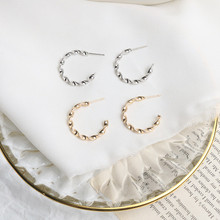 Europe America Hyperbolic Vintage INS Twining Letter C Round Circle Geometric Simple Hoop Earrings Fashion Jewelry-LAF