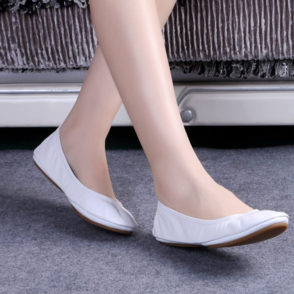 Hot Fashion Women s Ballerina Shoes Comfortable Genuine Leather Bridal Shoes Ballet Flats Foldable Flats Pregnant