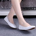 Hot Fashion Women's Ballerina Shoes Comfortable Genuine Leather Bridal Shoes Ballet Flats Foldable Flats Pregnant Shoes