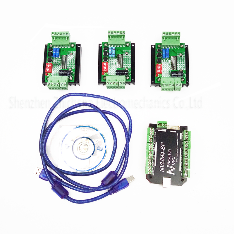 top grade CNC mach3 usb 4Axis Kit, 3pcs TB6600 1 Axis Stepper Motor Driver + mach3 4 Axis USB 100KHz