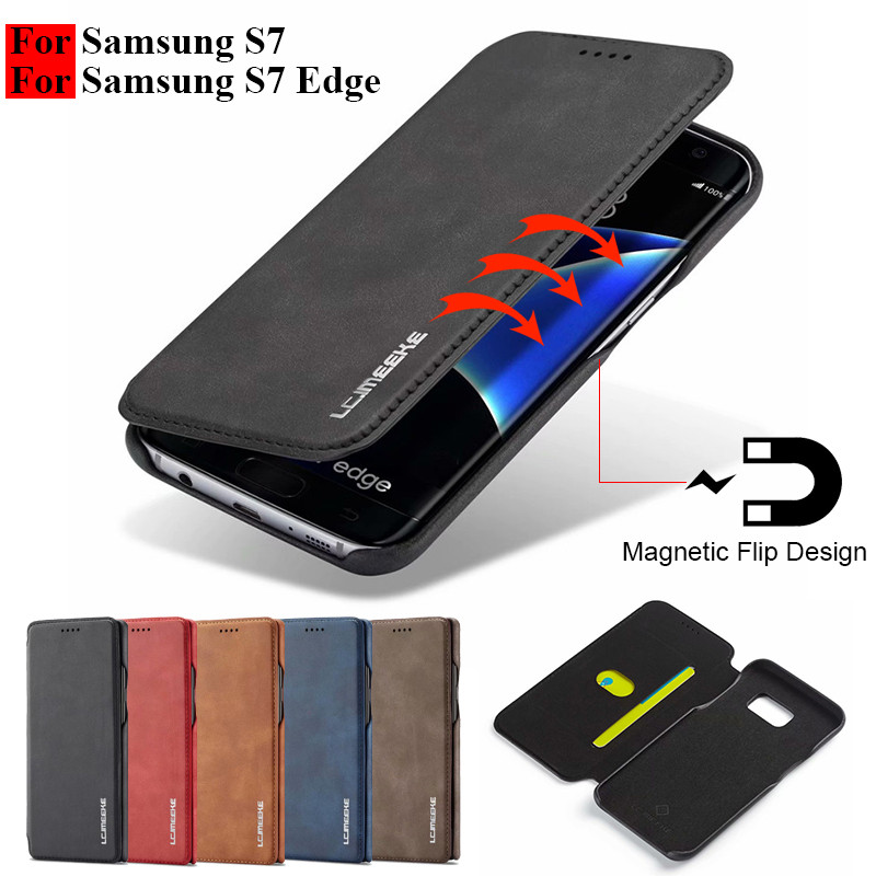 buy popular f3983 26597 US $7.62 45% OFF|S7 Edge Case For Samsung S7 Case Flip Magnetic Phone Cases  On Samsung Galaxy S7 Edge Case Leather Vintage Wallet Cover Card Slot-in ...