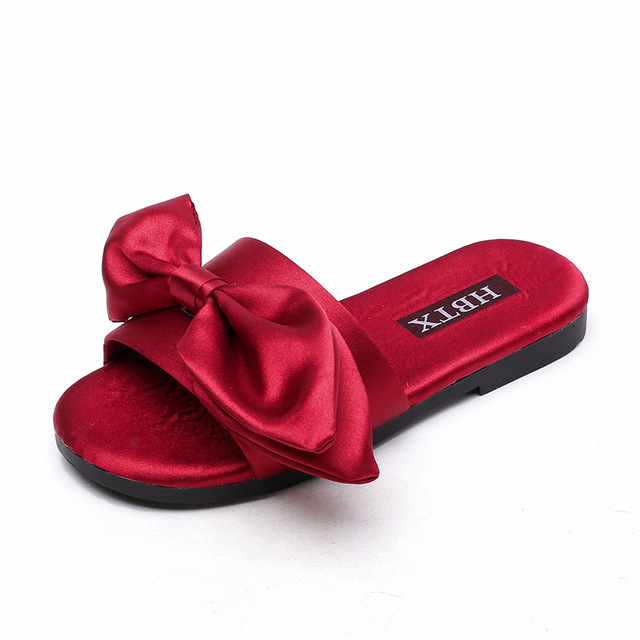 2b6a7af2b9a68 COZULMA Summer Girls Silk Bow Indoor Slippers Baby Toddler Kids Anti-slip Home  Slippers Sandals Children Slides Shoes Size 26-36