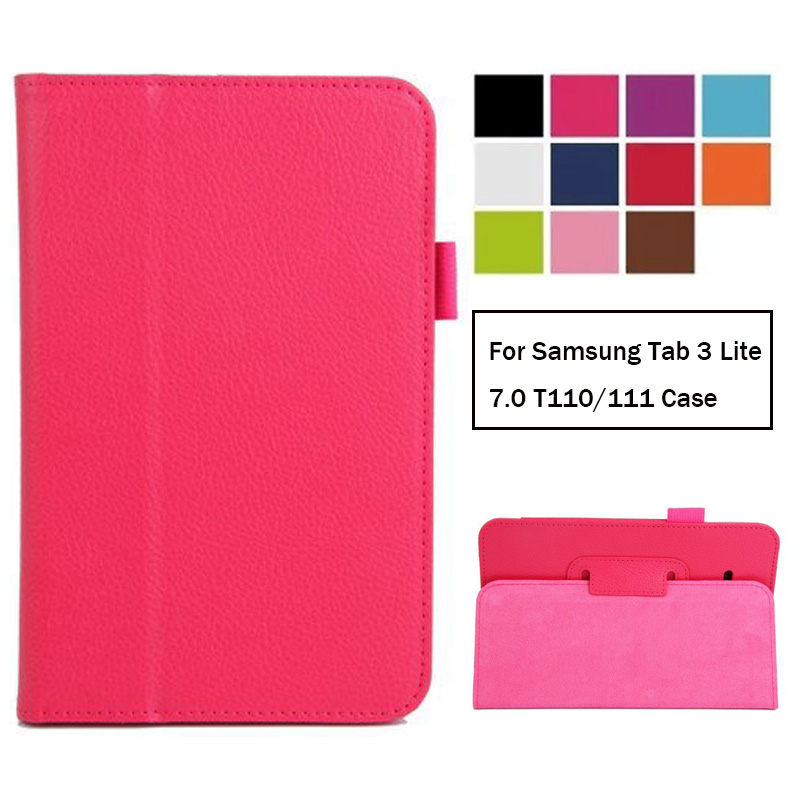 Tablet Flip Case For Samsung Galaxy Tab 3 Lite 7.0 T110 T111 T113NU T116 PU Leather Protective Stand Cover For Samsung TAB E 7.0
