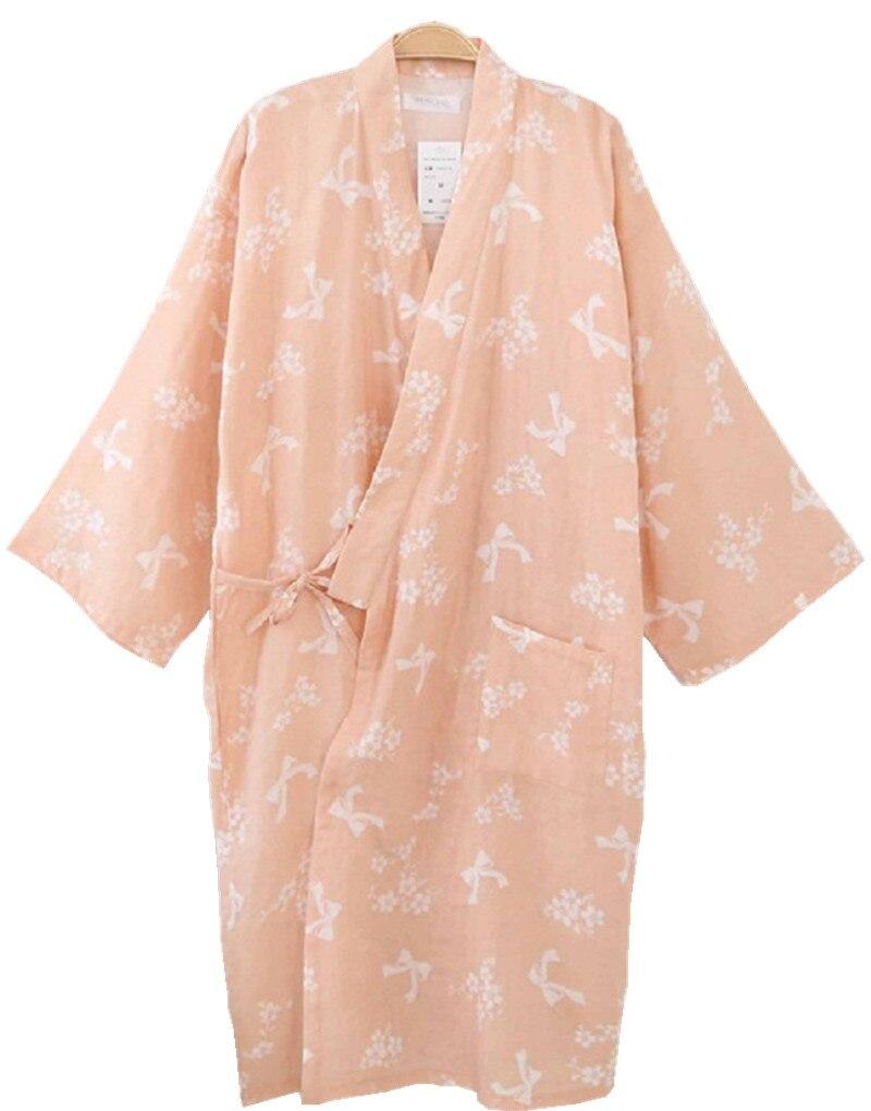 Shanghai Story Women Cotton Three-quarter Sleeves Kimono Bathrobe With Pockets Robe Printed Flower Pajamas 8 Color