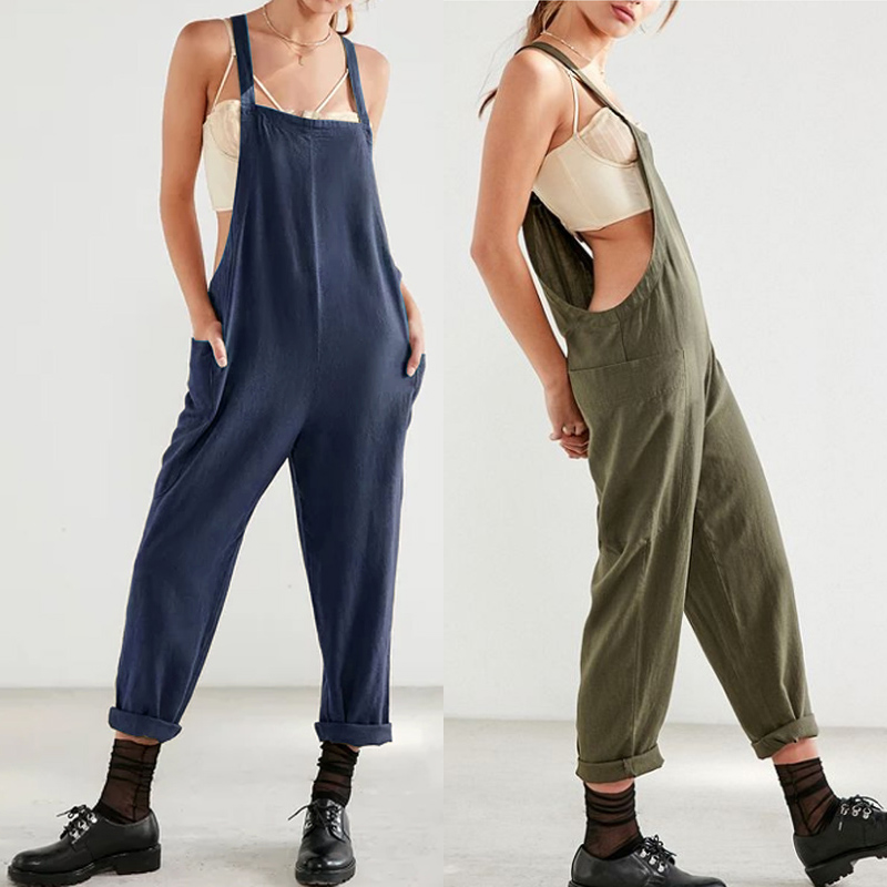bb304b6ac59 Detail Feedback Questions about 2018 ZANZEA Cotton Bib Overalls Women Linen  Jumpsuits Dungarees Vintage Backless Casual Solid Rompers Lady Harem Pants  ...