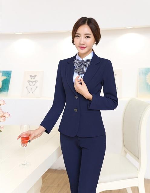 4XL más el Tamaño Uniforme de Gala Estilo Profesional Business Women Work Trajes Con Chaquetas Y Pantalones Femeninos Blazers Set