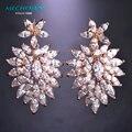 Big long Luxury Zirconia Earrings Beautiful Bridal Wedding Earings Brand Max Brincos Womans Fashion Rhinestone Brinco Ouro Ears