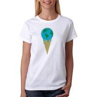 티 아이스크림 globe 티셔츠 새로운 크기 s-xl 짧은 소매 라운드 칼라 코튼 T 셔츠 짧은 셔츠 여성 티 탑 100%