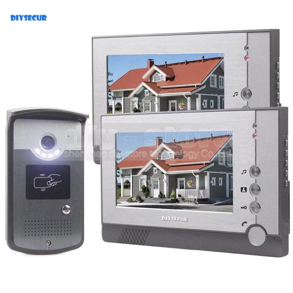DIYSECUR mains libres couleur LCD affichage vidéo porte téléphone entrer interphone sonnette carte lecteur de clé RFID LED caméra de Vision nocturne