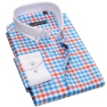 Fashion Brand Long Sleeve Plaid Shirt Men Slim Fit Cotton Formal Business Boy Casual Dress Shirt Man British Style Plus Size 4XL