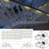 Motion Sensor Night Light 36.7ft DIY LED Stair Strip Lights Dimmable 60Leds LED Module Light Kits for Staircase Stair Kitchen