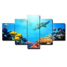 Modern 5 Panel Vintage Cartoon Underwater World Posters and Prints Wall Artwork Canvas Painting Living Room Home Decor