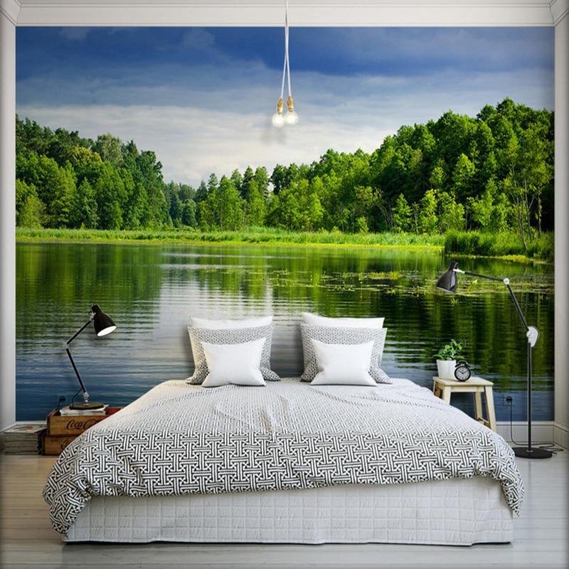 Фото обои красивый лес вид на озеро HD фотография 3D настенная гостиная спальня ТВ фон настенная Фреска Papier Peint