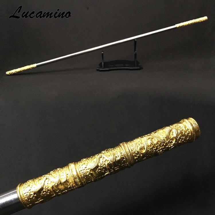 En acier inoxydable Roi Singe Personnel Sculpture dragon d'or Trique Sun WuKong arme dans la Pérégrination Vers L'ouest performance pratique