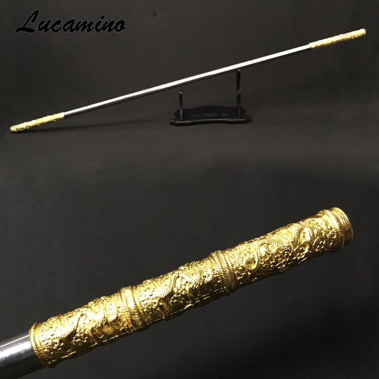 Stainless Steel Monkey King Staff  Carving Dragon Golden Cudgel Sun WuKong Weapon In Journey To The West Performance Practice