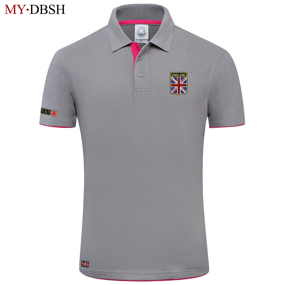 New Arrival British Flag Embroidery Mens Polo Shirt Comfort Cotton