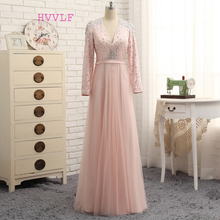 HVVLF Pink Luxurious Evening Dresses 2019 A-line V-neck Long Sleeves Tulle Crystals Long Evening Gown Prom Dress Prom Gown
