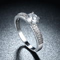 Rodada CZ Casamento Anéis de Noivado clássico Pedrinhas Para As Mulheres Platinadas Moda Jóias Femininas Anel Bijoux Atacado