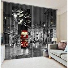 Modern city street scene 3D Painting Cars Blackout Curtains Office Bedding Room Living Sunshade Window Custom-made Size