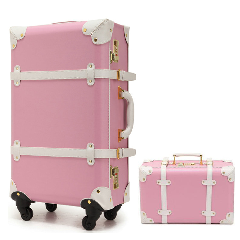 New Women Vintage Luggage Sets PU Leather Travel Suitcase ...
