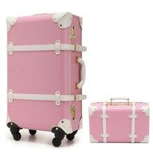 New Women Vintage Luggage Sets PU Leather Travel Suitcase,Universal Wheels Trolley Luggage Bag 22″ 24″ Rolling Luggage