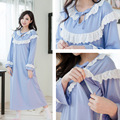 Cotton Nursing pajamas long-sleeve sleepwear Breastfeeding Sleepwear month of clothing summer Maternity Pajamas gown