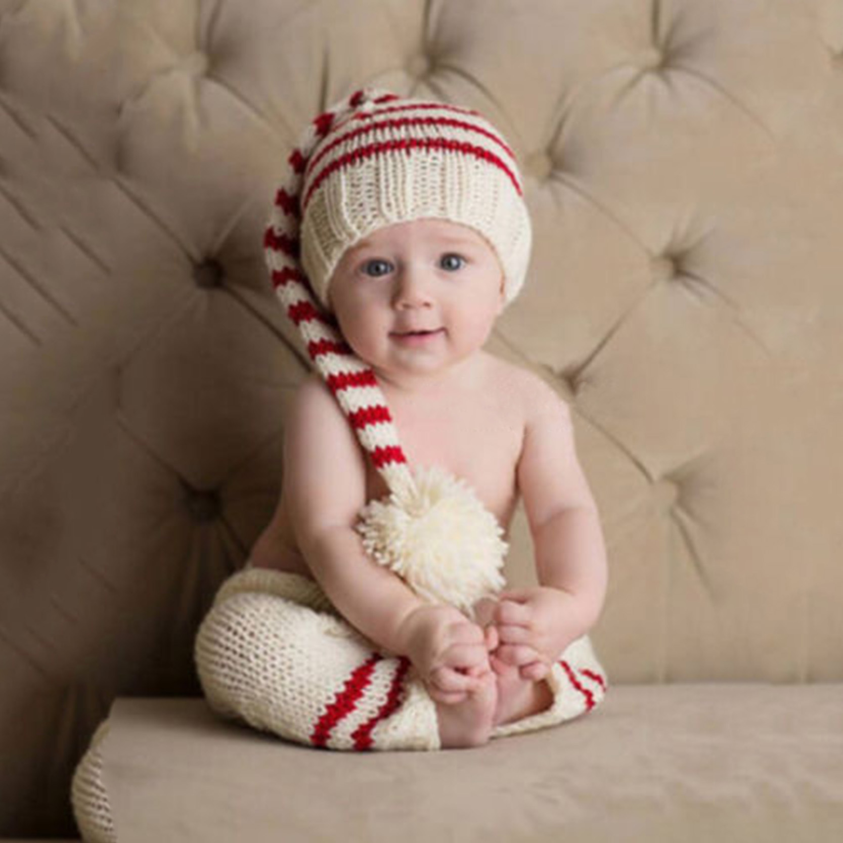 Baby Cute Newborn Photography Props Handmade Knit Infant Striped Beanie Hat And Pants For Boy Girl 0-6 Months cute caterpillar newborn baby boy girl photography suit infant knit outfit