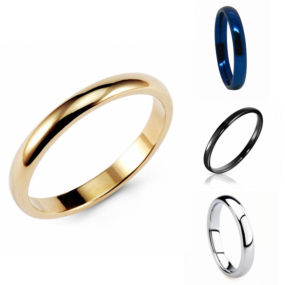 Queenwish Gold Classic Tungsten Ring 3mm Classic Wedding Engagement Rings Band Comfort Fit US Size 5