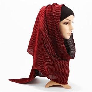 Image 5 - 2019新プリーツマキシhijabsスカーフエレガントなショール平野グリッターイスラム教徒ヒジャーブの女性しわスカーフショール登るマフラー1 pc