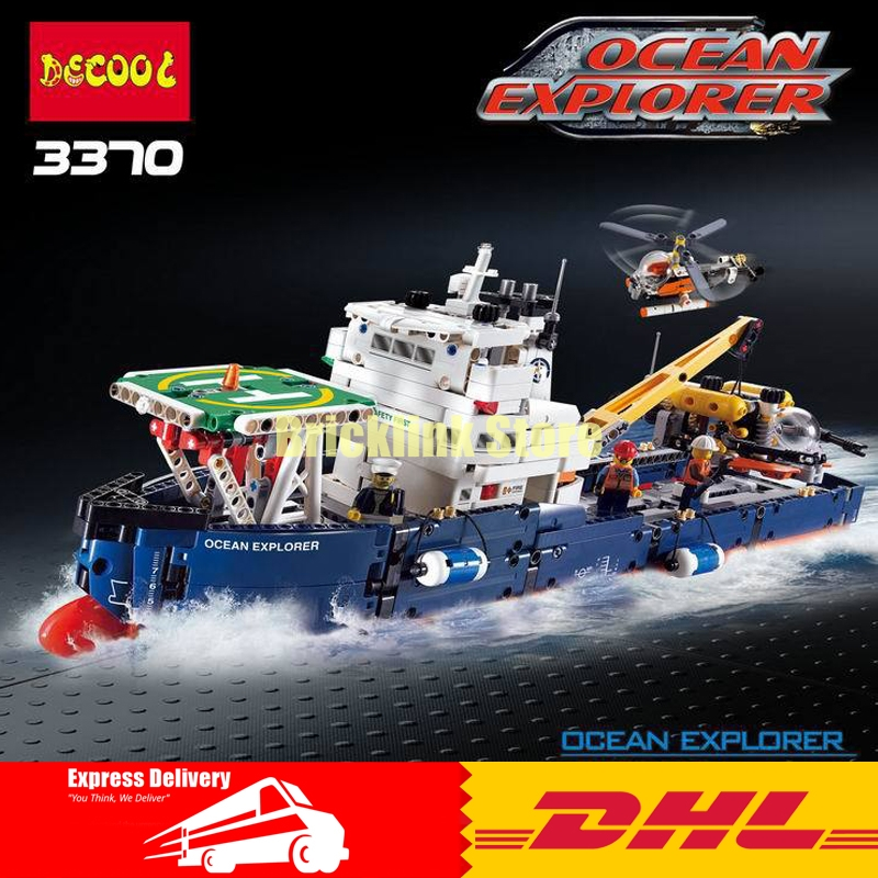 DHL Decool 3370 1342Pcs 2in1 Technic Series Ocean Explorer Building Block Compatible 42064 Brick Toy 1347pcs techinic 2in1 ocean explorer