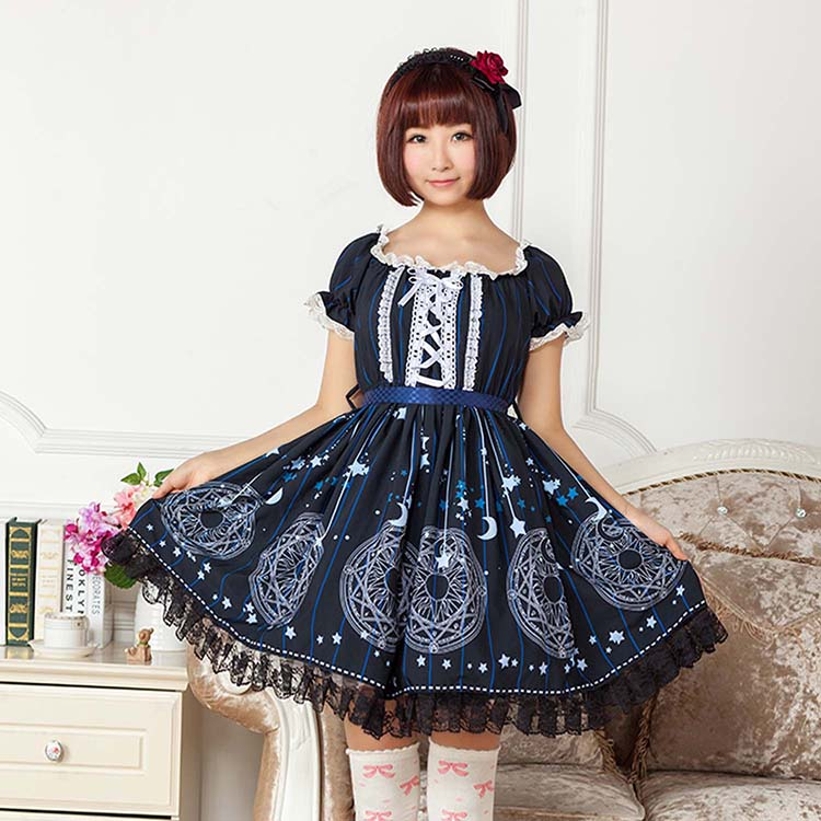 Lolita Japanese Style Short Casual Dress Sweet Deep Blue Sakura Magic Circle Printed Lolita Dress