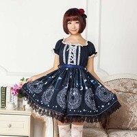 Lolita Ngắn Phong Cách Nhật Bản Ăn Mặc Giản Dị Ngọt Ngào Sâu Xanh Sakura Ma Thuật Các Mối Printed Lolita Ăn Mặc
