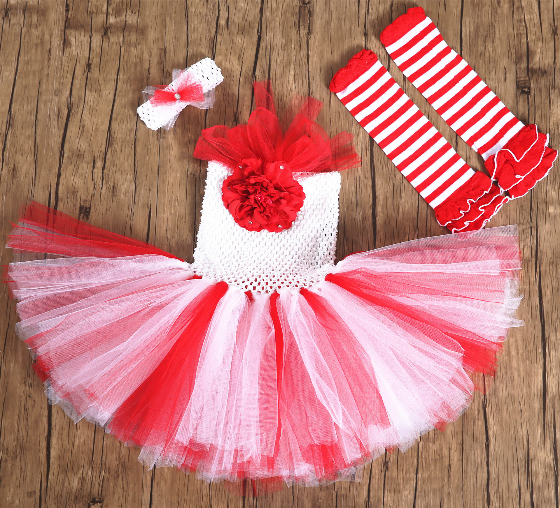 Christmas Elf Sets Girls Europe And America Tutu Dress Stockings For Baby Children Festival Party Princess Dress Cosplay Costume