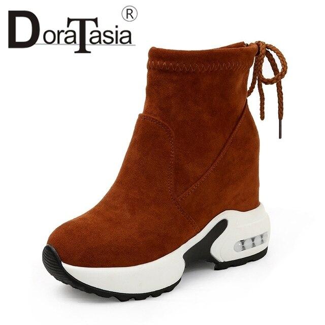 DORATASIA 2019 solidna wysokość zwiększenie okrągłe Toe Bowtie buty na koturnie kobieta na co dzień kobiety jesień zima botki