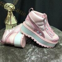 2019 кожаная женская обувь с молнией спереди, обувь на платформе, женские популярные шикарные кроссовки, женская брендовая повседневная обув