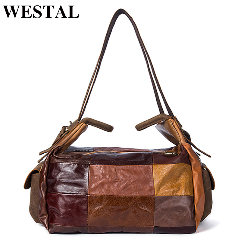 WESTAL Men Travel Bag Genuine Leather Bag Men Travel Leather Duffle Bags Patchwork Multi-purse Suitcase Luggage Weekend Bags vintage suitcase 20 26 pu leather travel suitcase scratch resistant rolling luggage bags suitcase with tsa lock