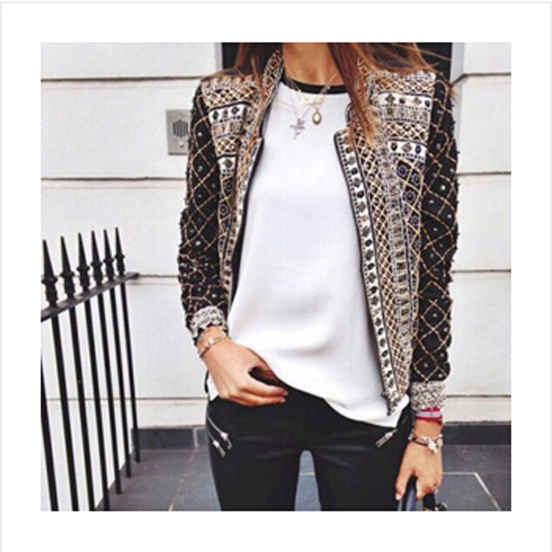 2015 spring autumn ladies jacket, printed flowers embroidered short jackets,  long sleeve outwear, open Stitch coat, girls sexy-in Basic Jackets from  Women's ...