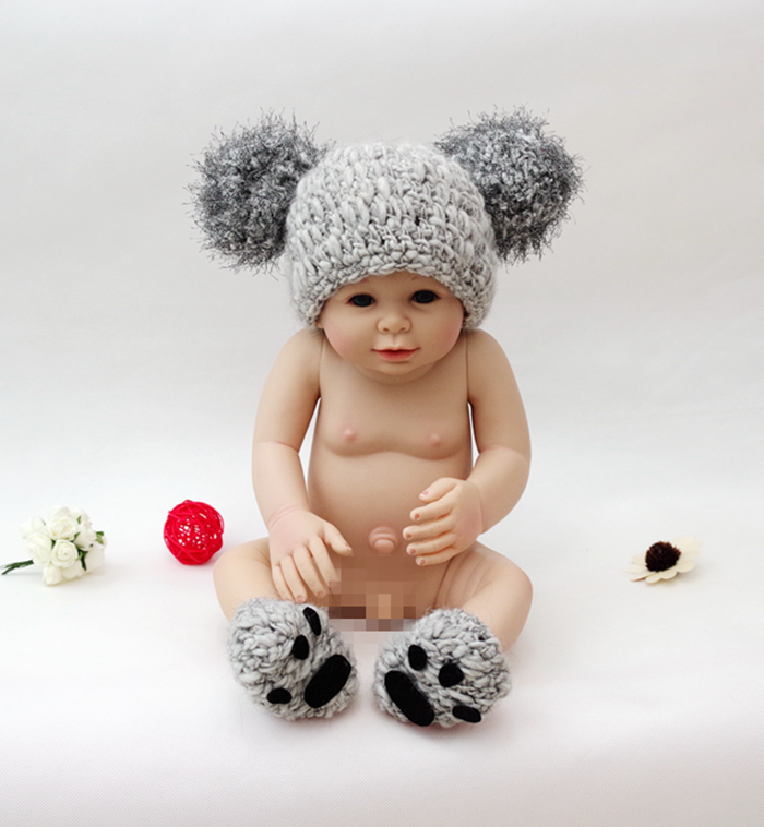 36278c82ca55 baby photo props newborn photography props toddler Knitted Crochet bear  costume Infant animal hat For Girl Boy Gift