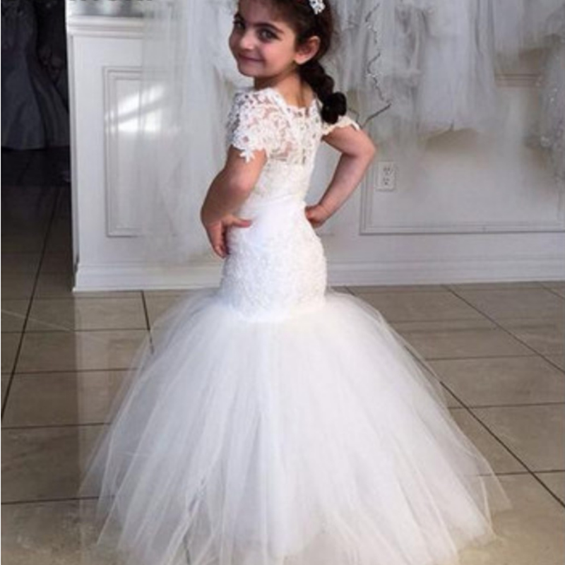 Birthday Flower Girl Dress Mermaid Short Sleeve Lace Applique For Wedding Fluffy Tulle Pageant First Holy Communion Dresses
