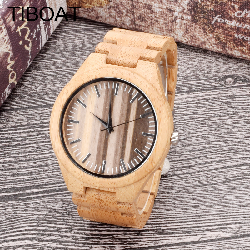 TIBOAT Natural Sandalwood Wood Watch for Men Casual Quartz Watch Wooden WristWatch for Gift Textured Streaks Watches Face Bamboo 2017 pure face design wooden watch for