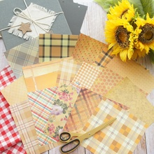 16 Sheets/lot 16.5*16.5cm  DIY Deep Yellow Flower Lattice Paper Design Wrapping Creative Craft Background Scrapbook