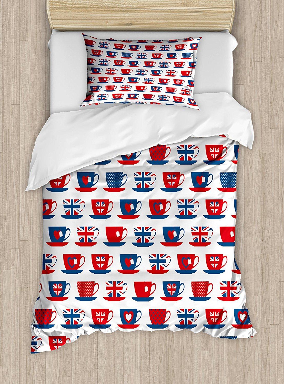 Чай вечерние Набор пододеяльников для пуховых одеял Комплект Великобритании тематические Чай формы чашки рисунком Юнион Джек сердца флаги
