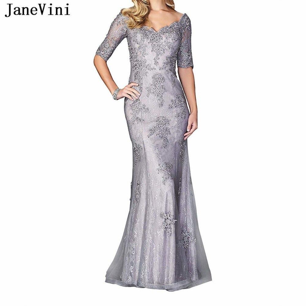 JaneVini Elegant Lace Silver Mother Of The Bride Dresses For Weddings V Neck Appliques Beaded Mermaid Vestidos Madre De La Novia