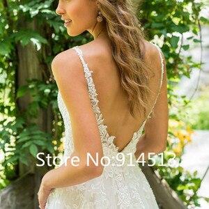 Image 4 - 2020 Vestido De Noiva A Line V Neck Wedding Dress Top Lace Appliques Bridal Dress Custom Made Wedding Gown Sweep Train