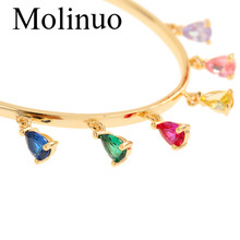 Molinuo 48-50mm pave with rainbow color water drop CZ gold hoop earrings charm Bohemia gorgeous women jewelry earrings promotion 2016 new earrings water drop shape with big cz rhodium plated women earrings