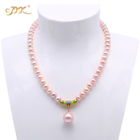 JYX 15.5mm Big Freshwater Pearl Pendant 8 9mm Lavender Pearl Necklace Choker 18 RPN341