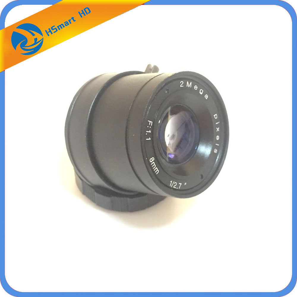 1/3 F1.2 CCTV Lens Fixed Iris CS 2.0MP 8mm Lens+CS mount Holder For Security Camera 8mm 12mm 16mm cctv ir cs metal lens for cctv video cameras support cs mount 1 3 format f1 2 fixed iris manual focus