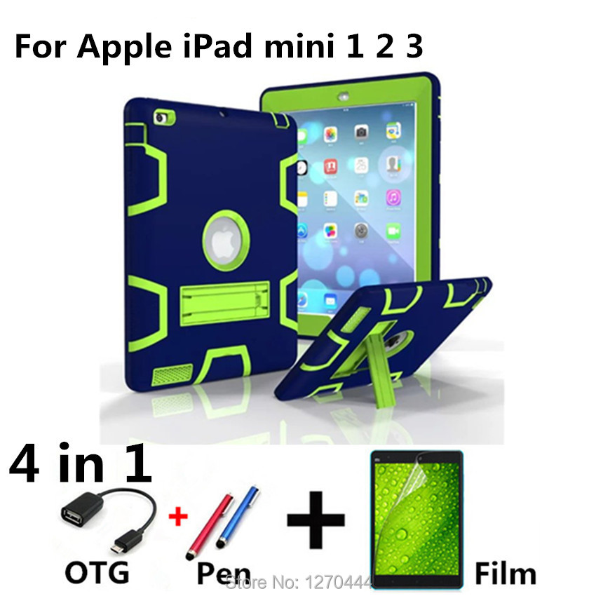 For iPad mini case 123 High Impact Resistant Hybrid 3 Layer Retina Kid Baby Safe Armor Shockproof Heavy Duty Silicone Hard Cover