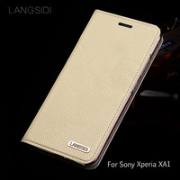 wangcangli leather calfskin litchi texture For Sony XA1 flip phone case all handmade custom