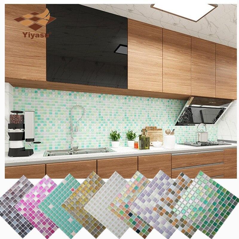 Mosaic Wall Tile Peel and Stick  Self adhesive Backsplash DIY Kitchen Bathroom Home Wall Sticker Vinyl 3D wall shelf for tea pots